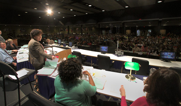WEA President Kim Mead presides at the 2014 WEA Representative Assembly